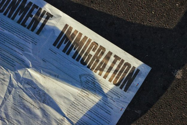 white printed immigration form